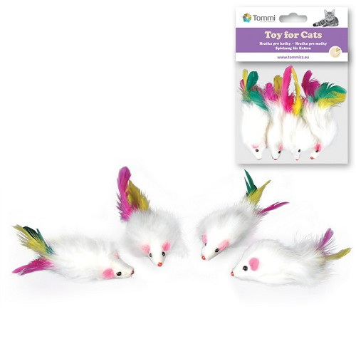 03144 Long haired fur mice with feather,small 5cm/4pcs in bag