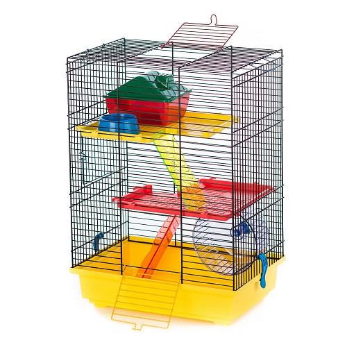 06349 Cage TEDDY II COLOR + plastic equipment / G017