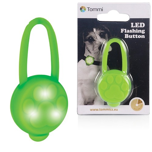 02468 LED binding light on pet collar, silicone/ green
