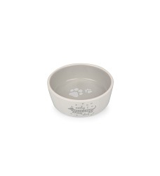 017343 Ceramic Bowl for Dogs white/grey with dachshund 13,8cm