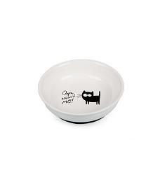 017353 Ceramic Plate White with Cat, antiskid/silicone bottom