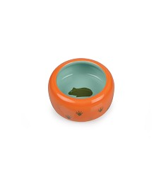 017365 Ceramic Bowl for Rodents orange/turquise, paw