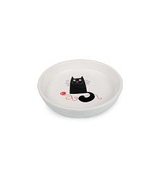 017352 Ceramic Plate White, Cat with woolball