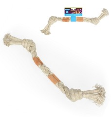 016603 Tug Toy with Knots and Leather Patches