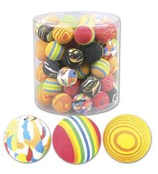 03155 Sponge rainbow balls 4cm - mix of colours/60pcs in tube